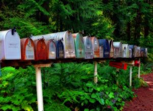 Picture of mailboxes in a row
